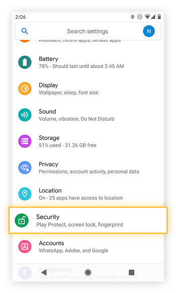 Opening the Security settings in Android 10 on a Google Pixel 2