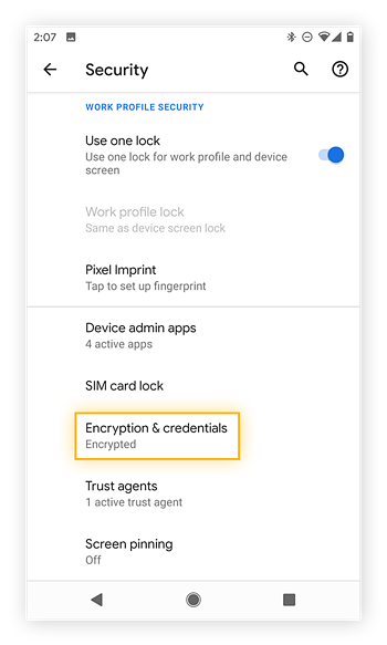 Opening the Encryption & credentials settings from the Security settings of Android 10 on a Google Pixel 2