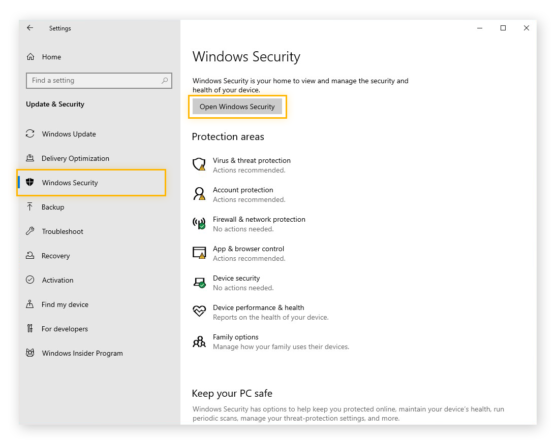 Accessing the Windows Security settings in Windows 10