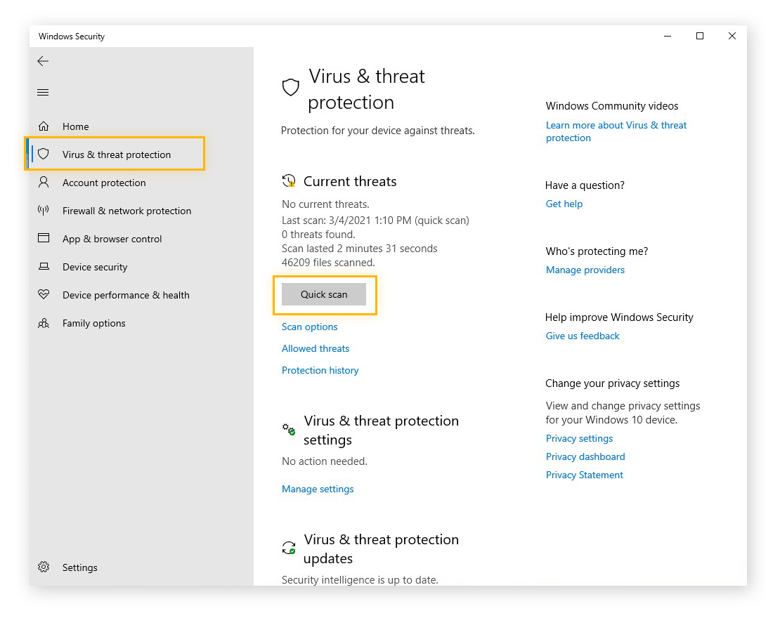 Using the Quick Scan function in Windows 10 to check for malware