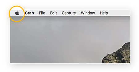 Screenshot of a Mac home screen with the Apple icon highlighted
