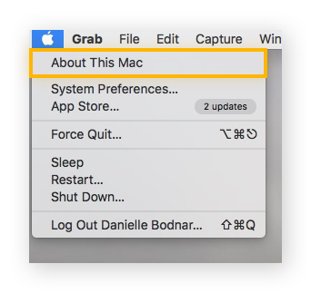 """screenshot of the Apple dropdown menu, with the option """"About This Mac"""" highlighted"""