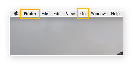 """Screenshot of the Fnder bar wth the option """"Go"""" highlighted"""