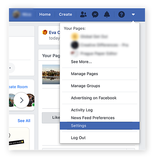 Opening up Settings in Facebook on desktop.