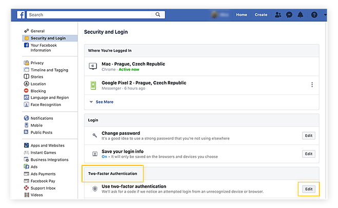 Accessing security and login settings in the Facebook app on desktop.