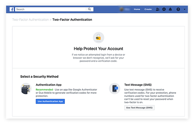 Selecting the two-factor authentication settings in the Facebook app on desktop.