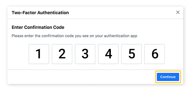 Entering in the confirmation number to confirm setup of 2FA.