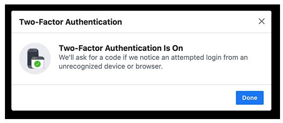 De instelling van 2FA bevestigen in Facebook.