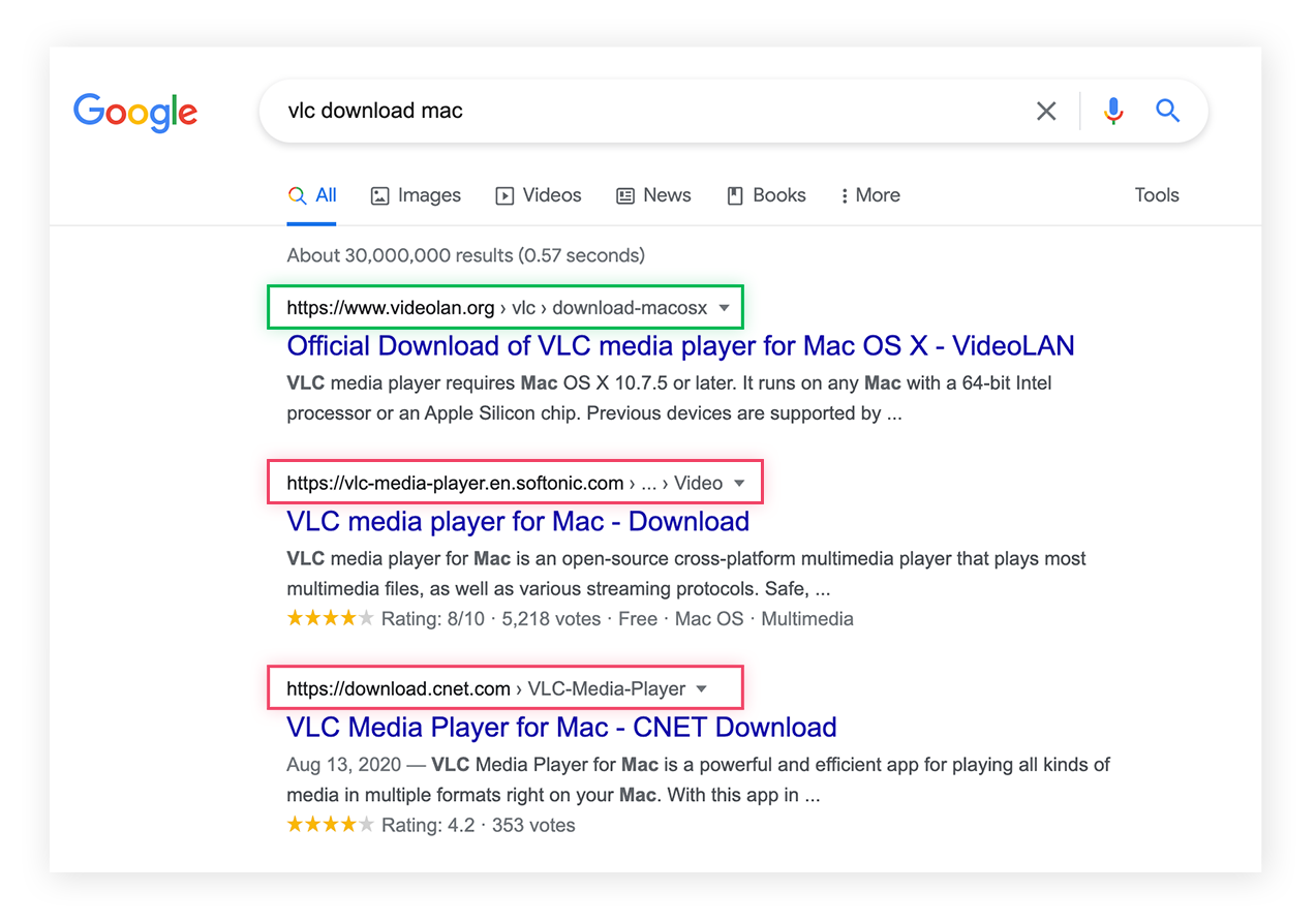 Search results showing third-party download sites, which may bundle software with PUPs.