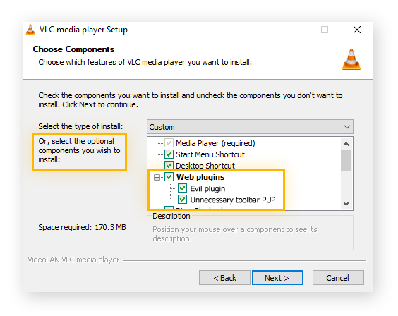 A VLC download window showing optional PUPs