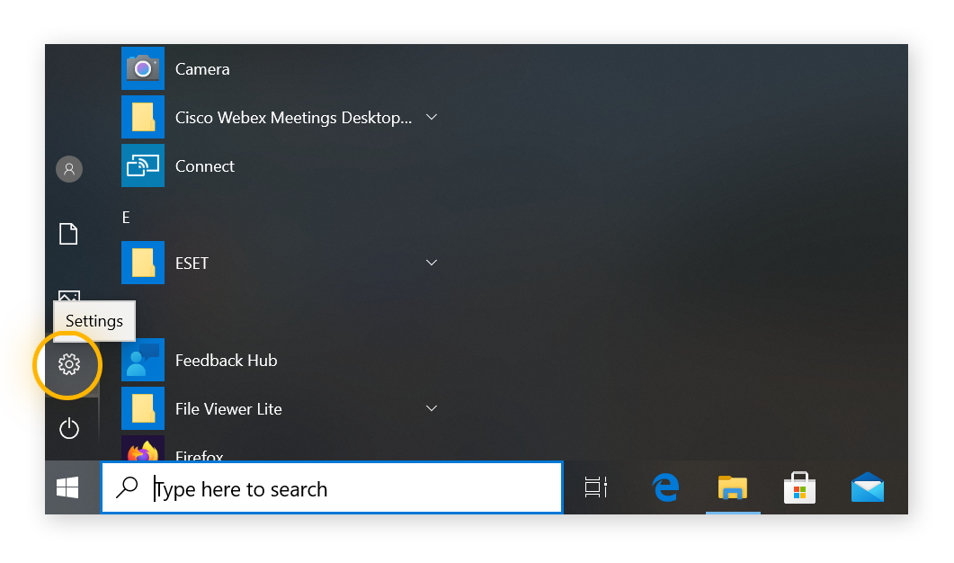 Windows menu opened by clicking on windows icon, settings icon is selected from the open windows menu