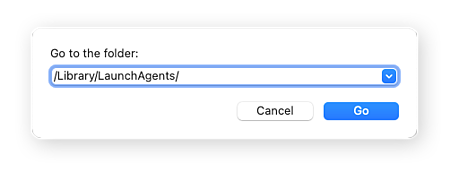 Go to folder dialogue box open with /Library/LaunchAgents/ typed into the search field