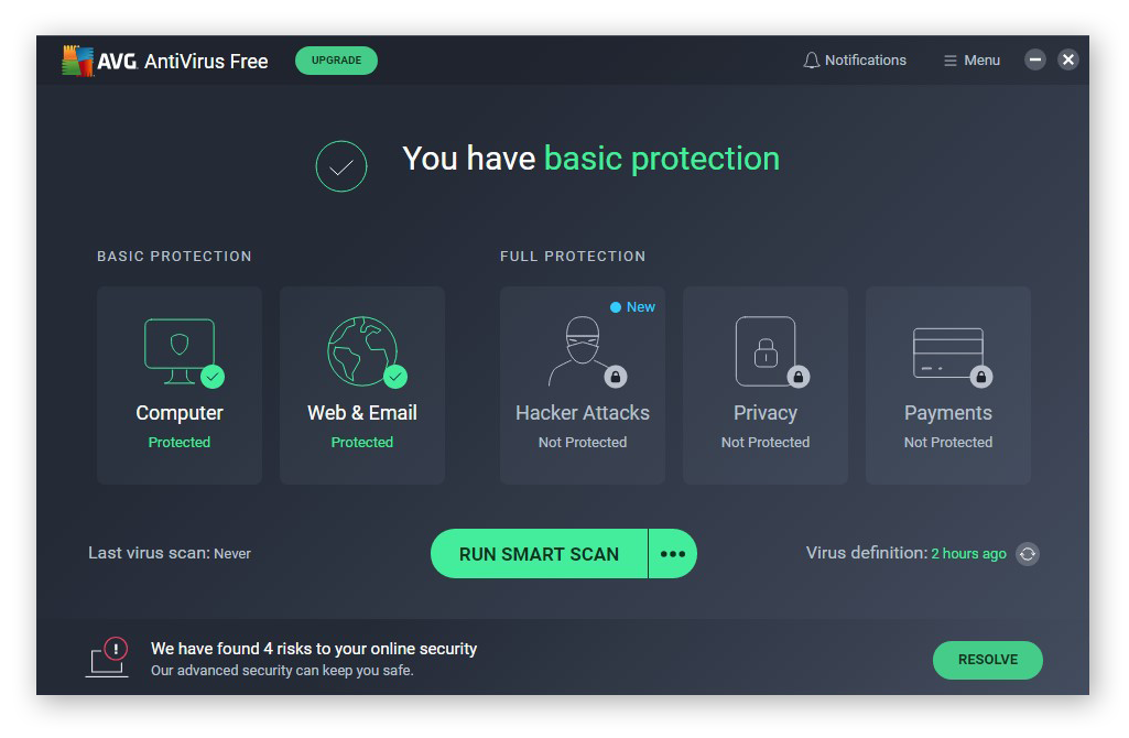AVG AntiVirus FREE protects against all types of malware