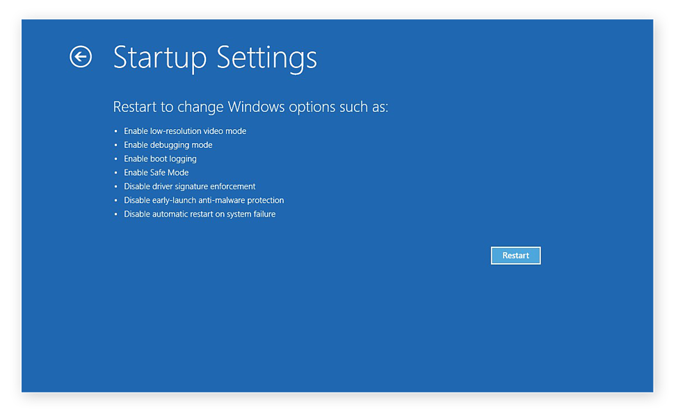 The Startup Settings for troubleshooting problems in Windows 10