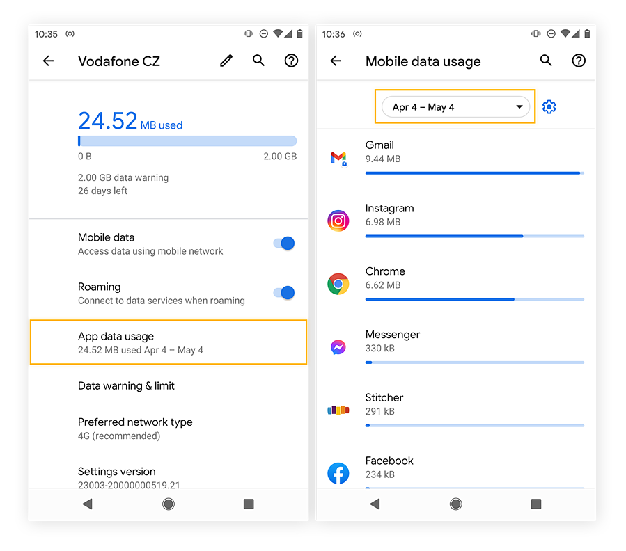 Viewing the top data draining apps in Android 11