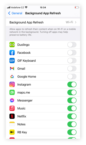 Turn background app refresh back on for individual apps by toggling the associated button from grey to green.