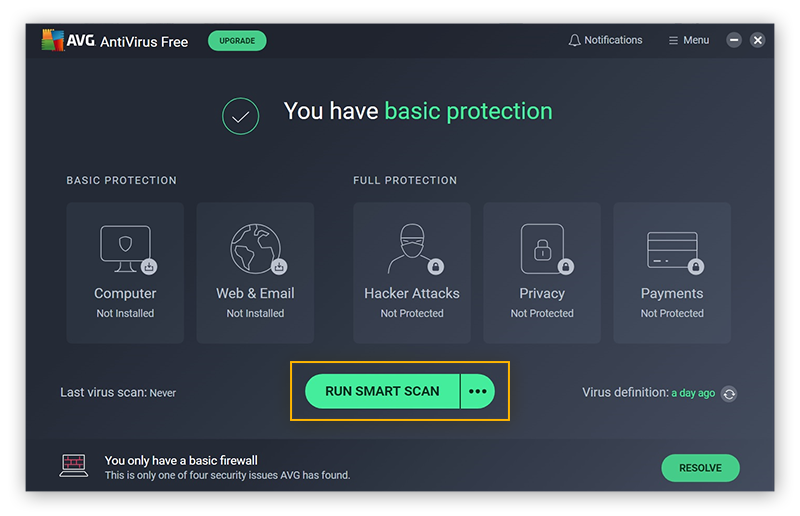 "The main window for AVG Free Antivirus, with ""Run Smart Scan"" and the three dots next to it circled."