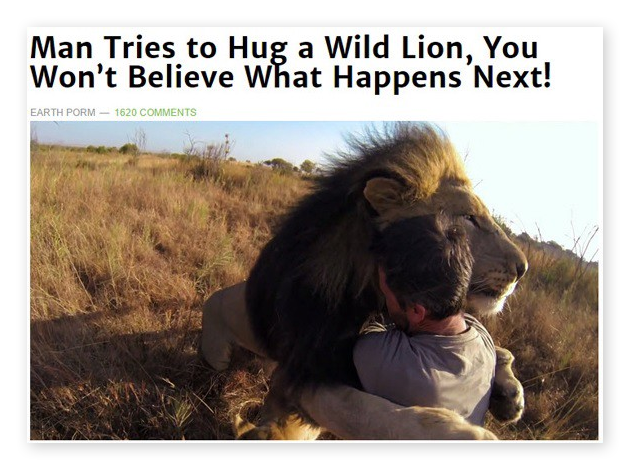 """Ein Beispiel für Clickbait mit dem Titel """"Ein Mann umarmt einen wilden Löwen. Und dann passiert das!"""""""