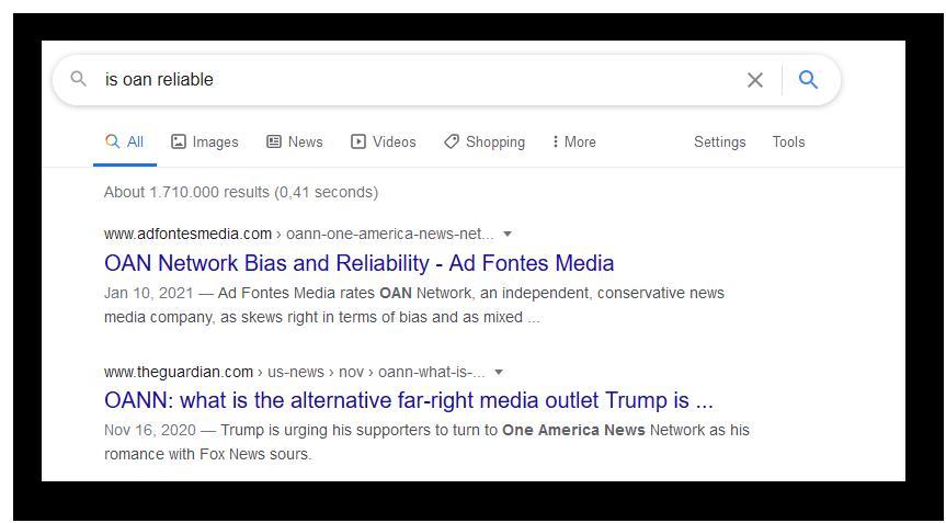 """Die Top-Google-Treffer für die Abfrage """"ist OAN vertrauenswürdig"""" zeigen, dass die Quelle als rechtsextrem gilt."""