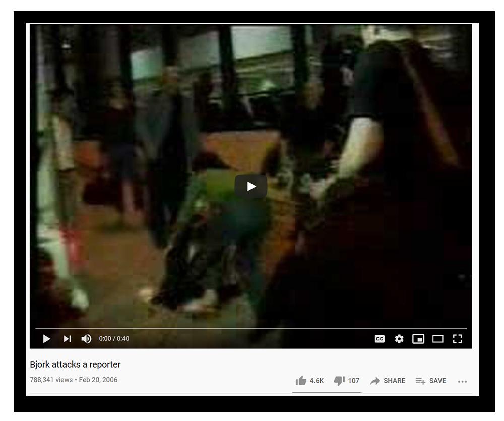 """Ein Screenshot eines YouTube-Videos mit dem Titel """"Björk greift einen Reporter an""""."""