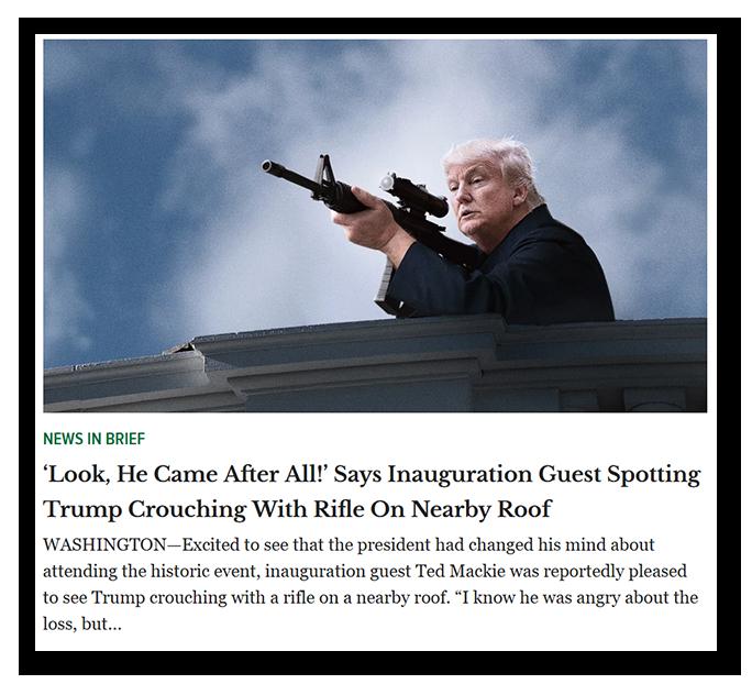 Bild eines offensichtlichen Fake-News-Artikels von The Onion.