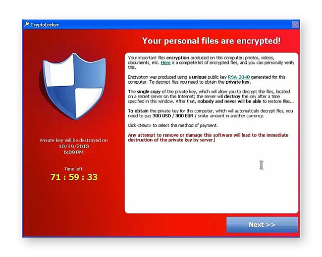 Example of a ransom note left by CryptoLocker ransomware.
