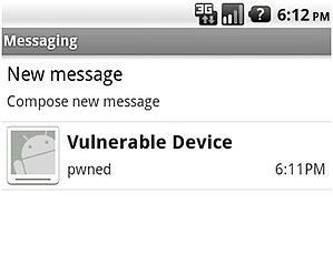 Screenshot vulnerable device message
