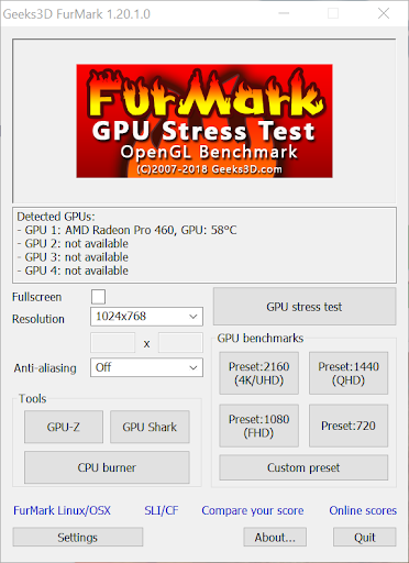 screenshot of the furmark gpu stress test