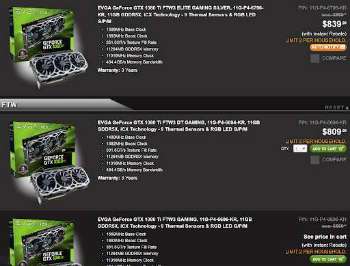 GeForce price comparison screenshot