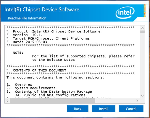 Intel Chipset-Gerätesoftware