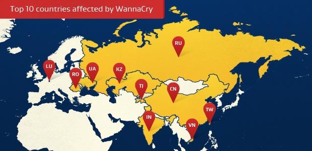 Os 10 países mais afetados pelo WannaCry