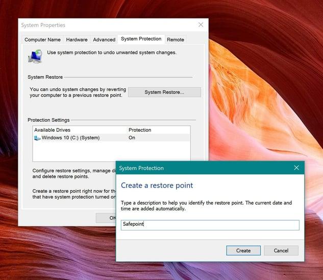 Erstellen eines Wiederherstellungspunkts in Windows