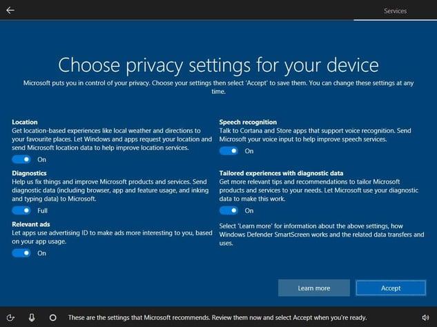 Das neue Datenschutz-Dashboard in der Erstinstallation von Windows10