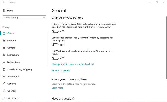 The General settings under Privacy