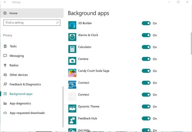 Die Einstellungen für Hintergrund-Apps in Windows10