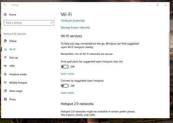 The Wi-Fi settings in Windows 10