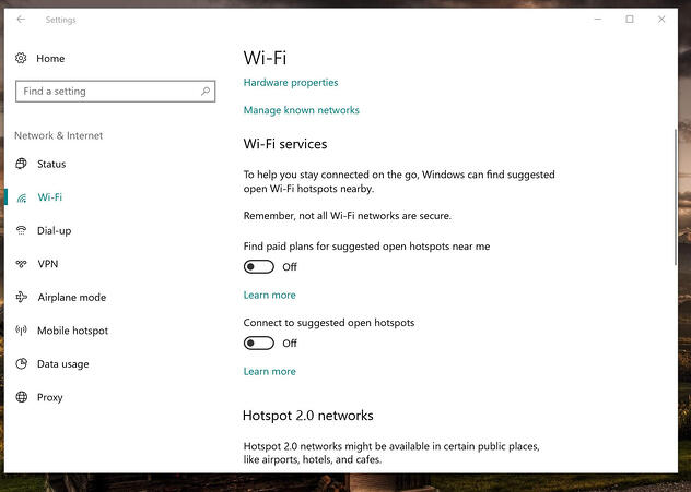 Die WLAN-Einstellungen in Windows10