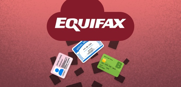 Equifax logo raining leaked credit cards, social security cards and driver's licenses.