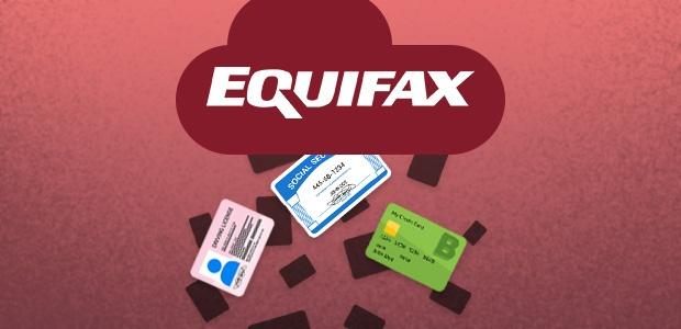 Logotipo da Equifax chovendo cartões de crédito, cartões de previdência social e carteiras de habilitação.