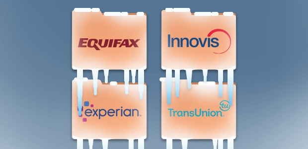Frozen credit reports with Equifax, Experian, Transunion and Innovis logos.