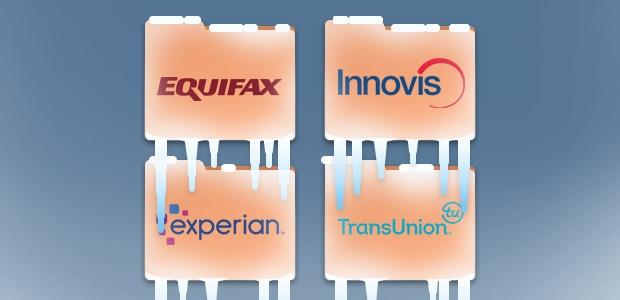 Relatórios de crédito congelado com logotipos da Equifax, Experian, Transunion e Innovis.