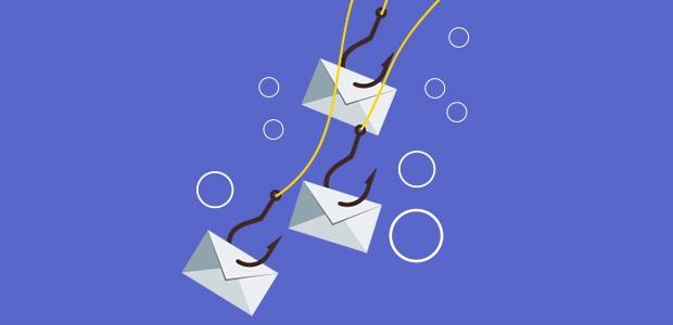 E-mails fisgados em uma linha de pesca.