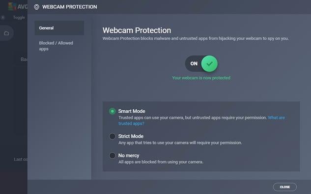 Captura de pantalla de la configuración de Protección de webcam en AVG Internet Security