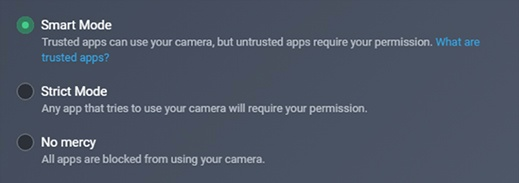 Captura de pantalla de los 3niveles de seguridad de Protección de webcam: Modo inteligente, Modo estricto y Sin piedad