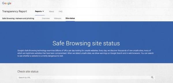 Immagine del sito Web Google Safe Browsing, che consente di verificare se un sito Web è sicuro