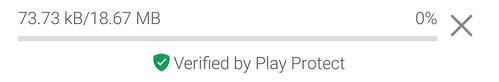 El logotipo de Play Protect en Google Play.