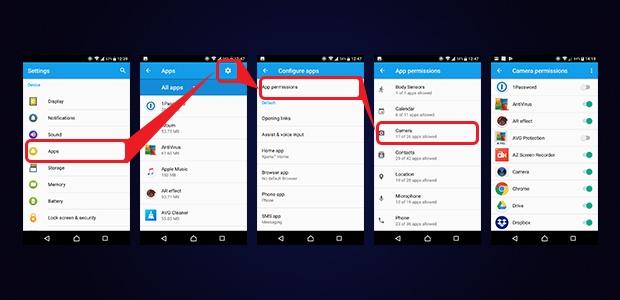 O fluxo da captura de tela que mostra como ver todos os aplicativos que estão usando uma permissão específica