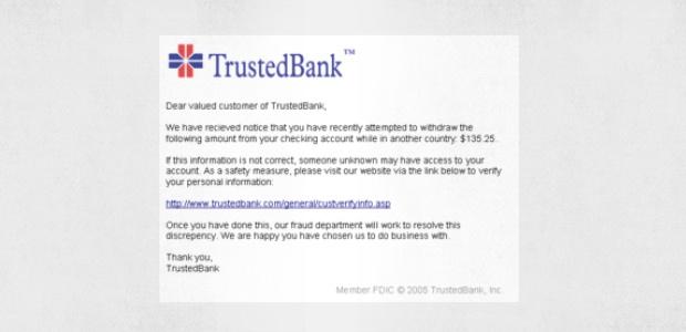 Un correo de phishing que imita a TrustedBank