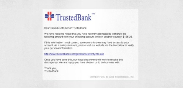 Um e-mail de phishing falso do TrustedBank