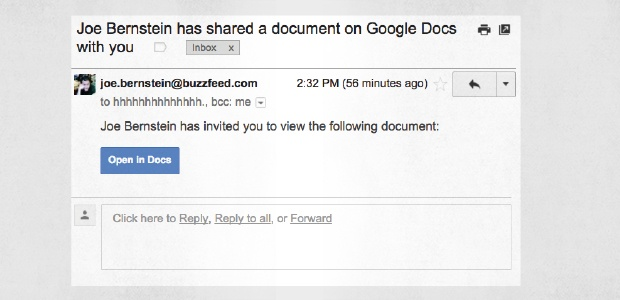 A phishing Google Doc invitation email